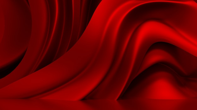 3d rendering red background with drapery fabric