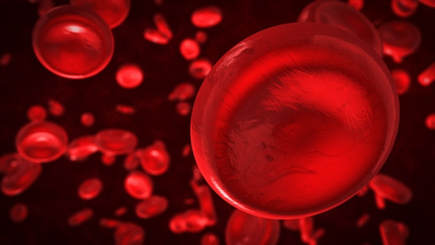 3d rendering red blood cells in vein