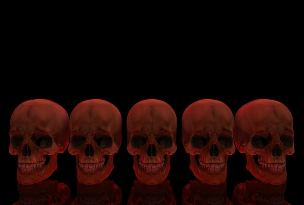 3d rendering. red bloody human head skull bone row with reflection on black .