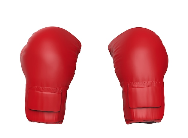 3d rendering red boxing gloves isolated on white