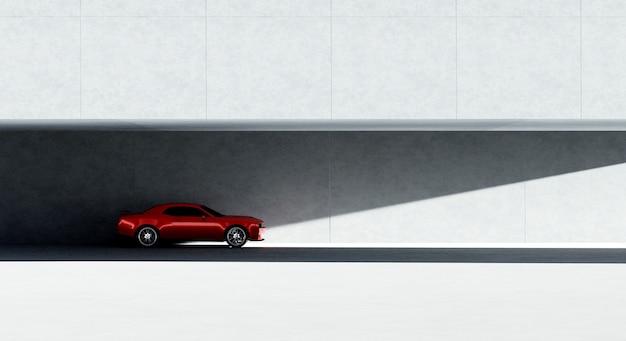 3d-рендеринг красной спортивной автостоянки на стоянке с минималистичным дизайном