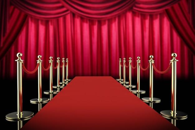 3d-рендеринг красной ковровой дорожки и веревочного барьера с красным занавесом