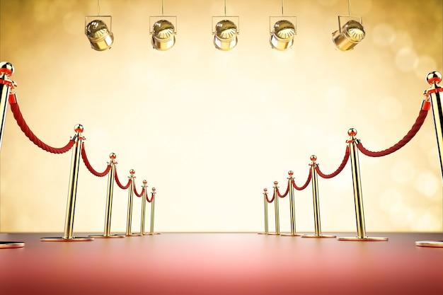 빛나는 스포트라이트가 있는 3d 렌더링 레드 카펫 및 로프 장벽