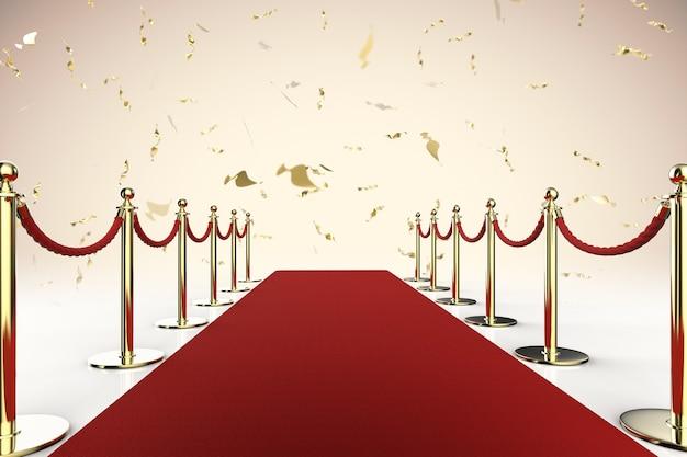 반짝이는 금색 반짝이가 있는 3d 렌더링 레드 카펫 및 로프 장벽