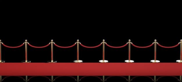 검은 배경에 밧줄 장벽이 있는 3d 렌더링 레드 카펫