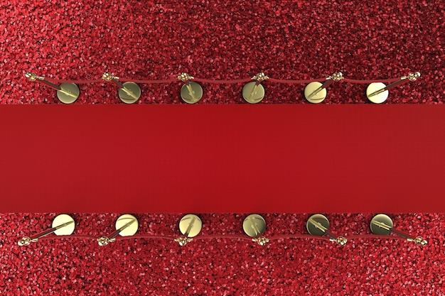 빨간색 배경에 밧줄 장벽이 있는 3d 렌더링 레드 카펫