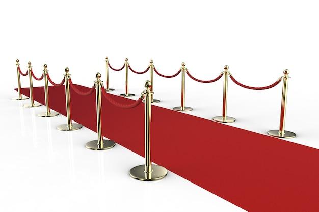 로프 장벽이 있는 3d 렌더링 레드 카펫 프리미엄 사진