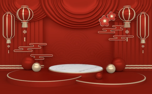 3dレンダリング。赤い中国の表彰台の最小限の幾何学的