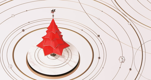 3d rendering of a red christmas tree floating above the white marble stage with golden golden balls, stars and rings floating around, abstract minimal concept.