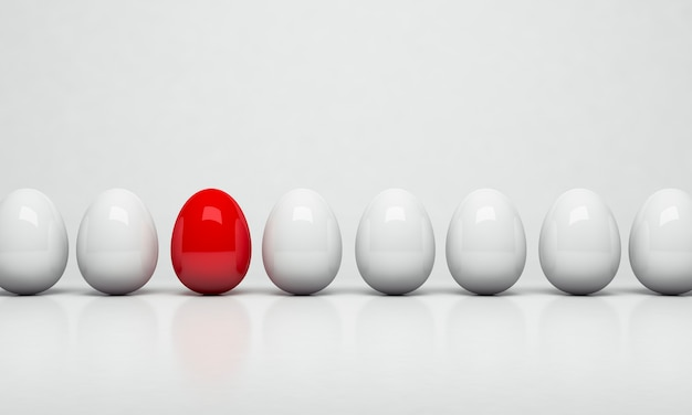 3d rendering. red egg among group of white eggs. unique concept