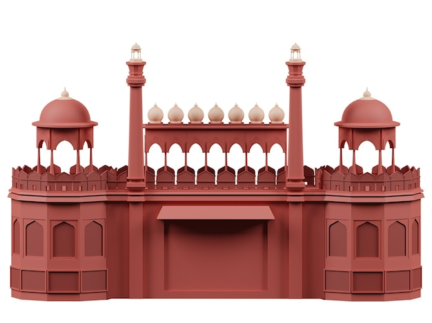 3d rendering of red fort monument on white background.