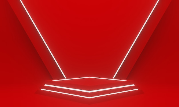 3d rendering. red geometric podium with white neon light.
