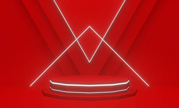 3d rendering. red geometric podium with white neon lights.