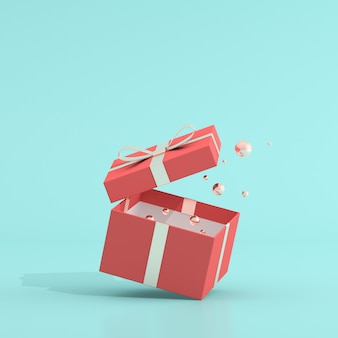 3d rendering of a red gift box and golden balls
