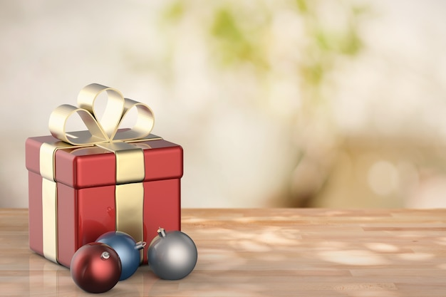 3d rendering red gift box with christmas balls