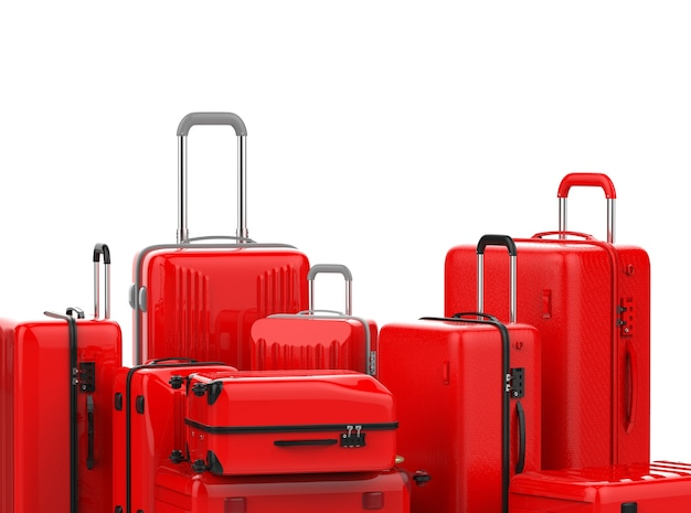 3d rendering red hard case luggages isolated on white
