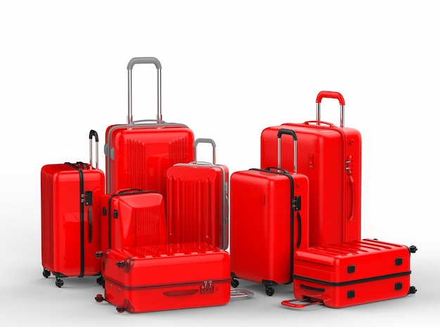 3d rendering red hard case luggages on white background
