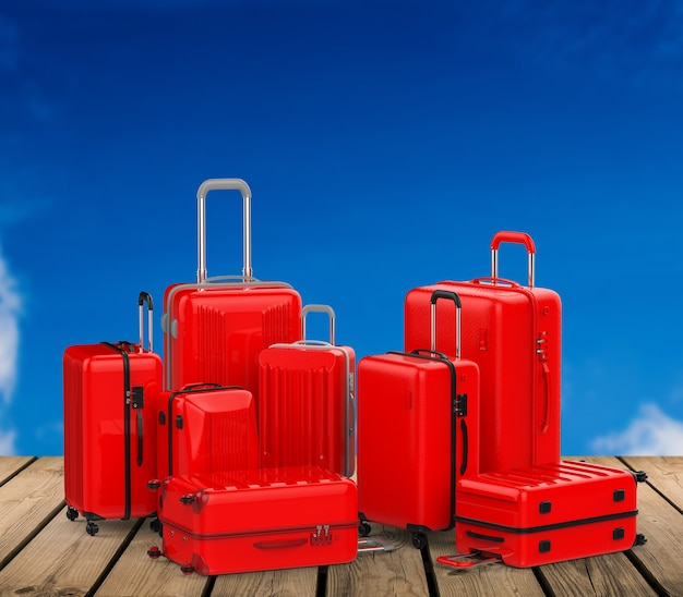 3d rendering red hard case luggages with blue sky background