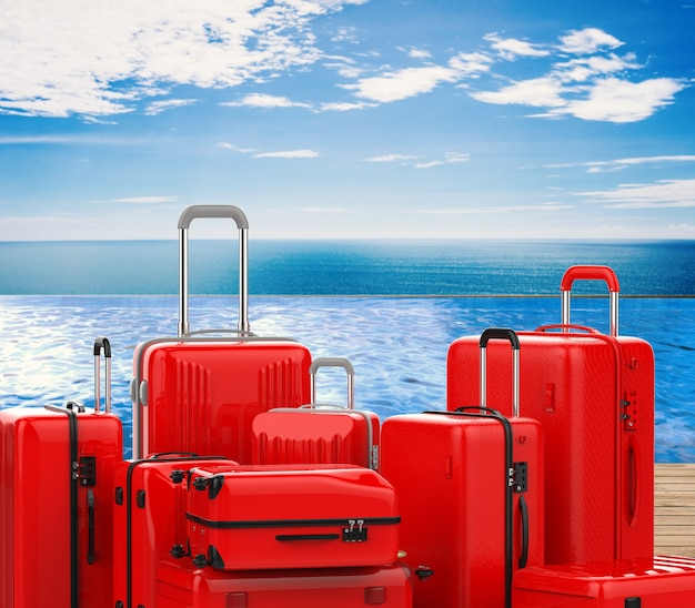 3d rendering red hard case luggages with summer background
