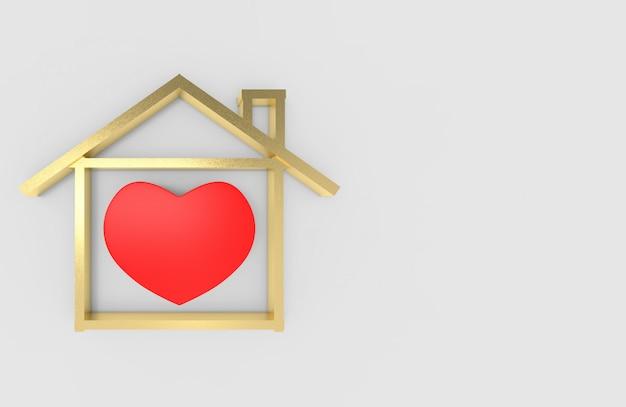 3d-рендеринг. красный объект формы сердца в золотой форме дома на копии пространства серый. безопасность дома работой из дома во время концепции времени карантина.