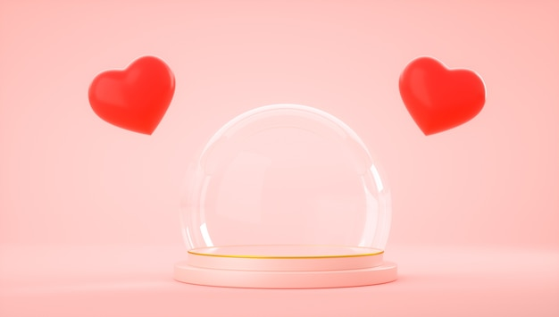 3d rendering of red hearts and glass ball globe on product stand on pink background