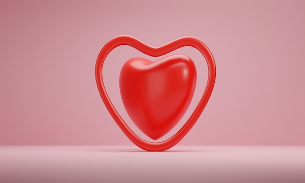 3d rendering, red hearts on pink background. symbols of love for greeting card design.