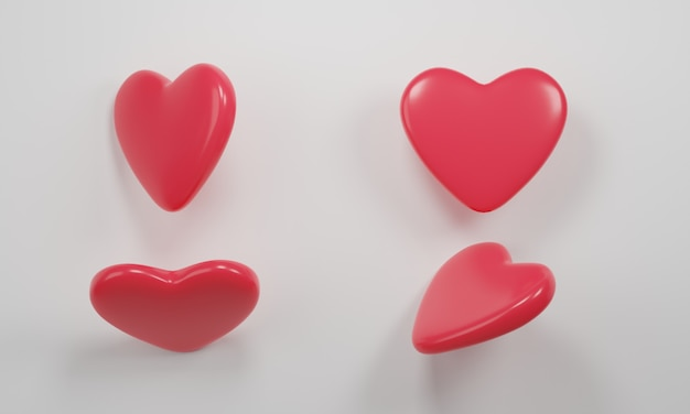 3d rendering. red isometric hearts icon set, different perspective