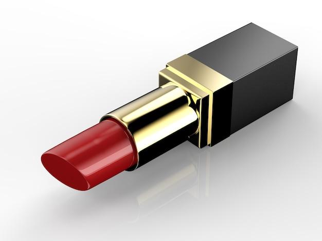 ゴールドパッケージの3dレンダリング赤い口紅