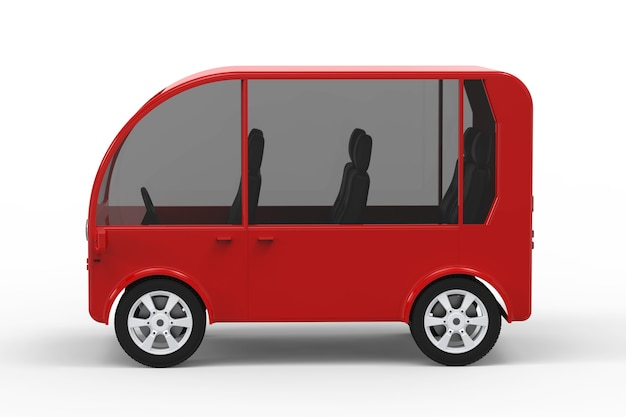 白い背景の上の赤いミニバンまたはシャトルバスの3dレンダリング