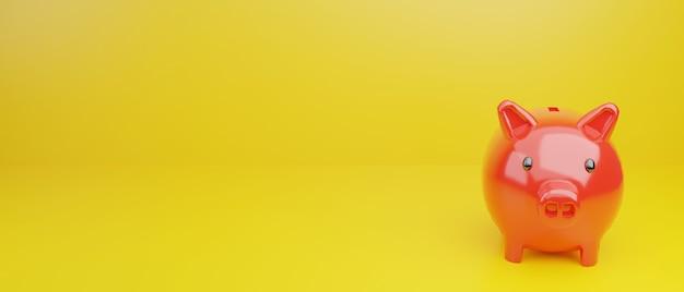 黄色の背景に赤い貯金箱を3dレンダリングします。お金を節約するコンセプト、3dレンダリング