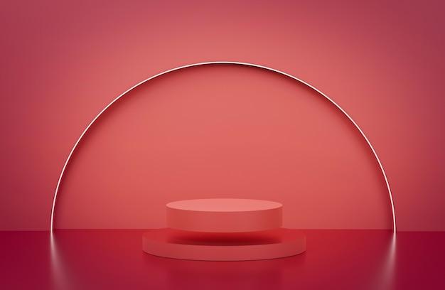 3d-рендеринг красного фона подиума плавающий подиум redi с неоновым полукругом на заднем плане