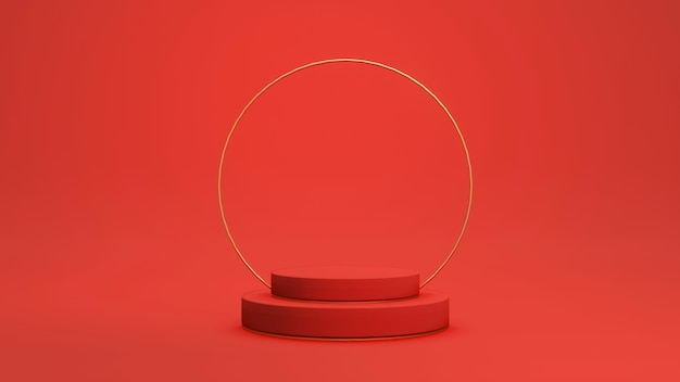 상업 디자인을 위한 황금 요소가 있는 3d 렌더링 빨간색 연단 제품 스탠드 디스플레이