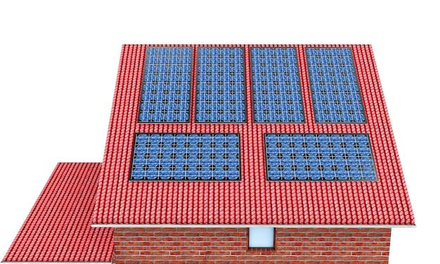 태양 전지 패널과 3d 렌더링 빨간 지붕 타일