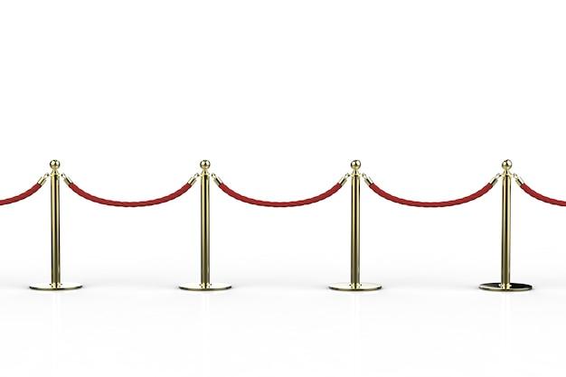 흰색 배경에 금 기둥이 있는 3d 렌더링 빨간 밧줄 장벽
