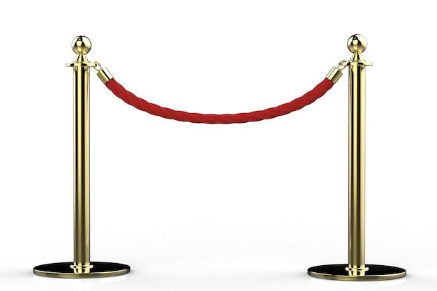 흰색 배경에 금 기둥이 있는 3d 렌더링 빨간 밧줄 장벽 프리미엄 사진