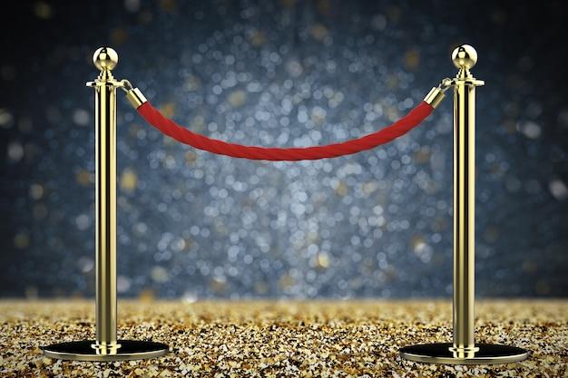 금 기둥이 있는 3d 렌더링 빨간 밧줄 장벽