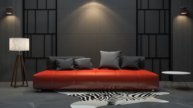3d rendering red sofa in dark room