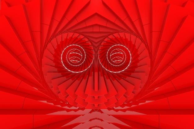 3d 렌더링. 심장 모양 벽 배경에서 빨간색 돌리기 소용돌이 예술. 프리미엄 사진