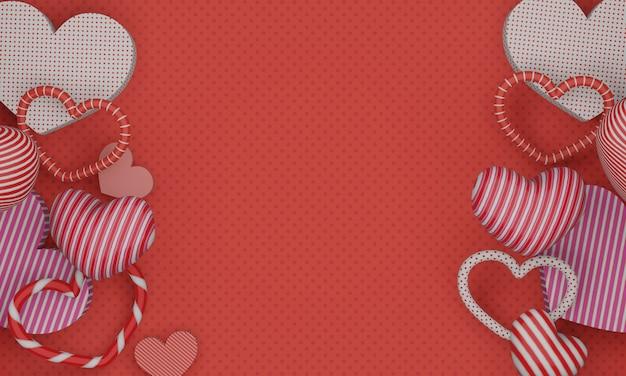 3d-рендеринг, красный фон дня святого валентина с красочными сердечками 3d.