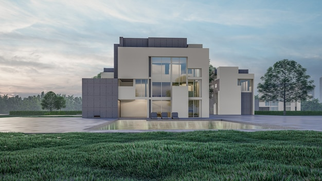 3d rendering of residential house visualization