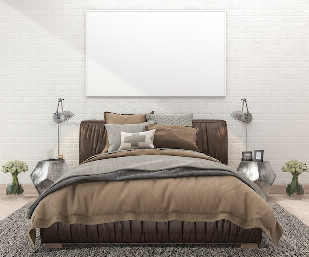 3d rendering retro brown bed in bedroom with brick wall and carpet