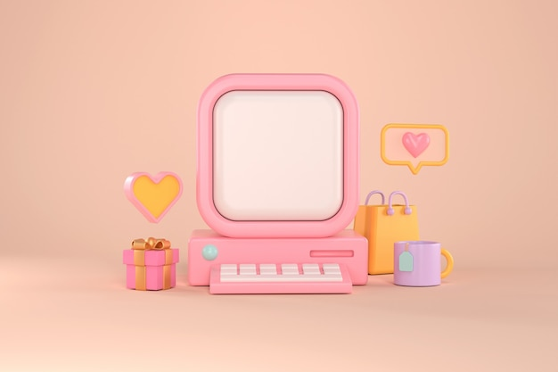 3d rendering of retro computer and heart message.