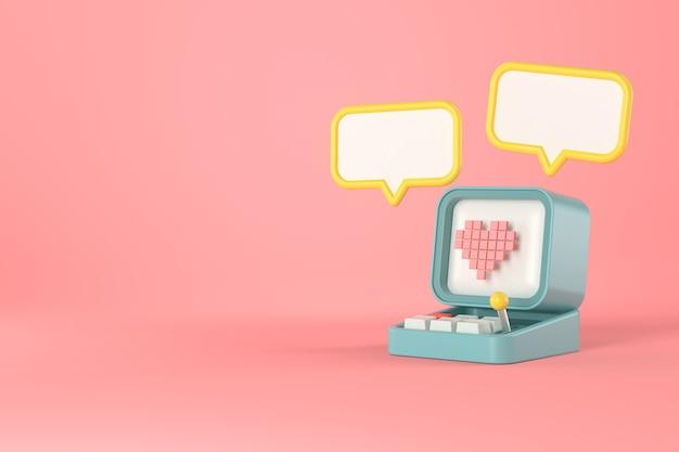 3d rendering of retro computer and heart pixel.
