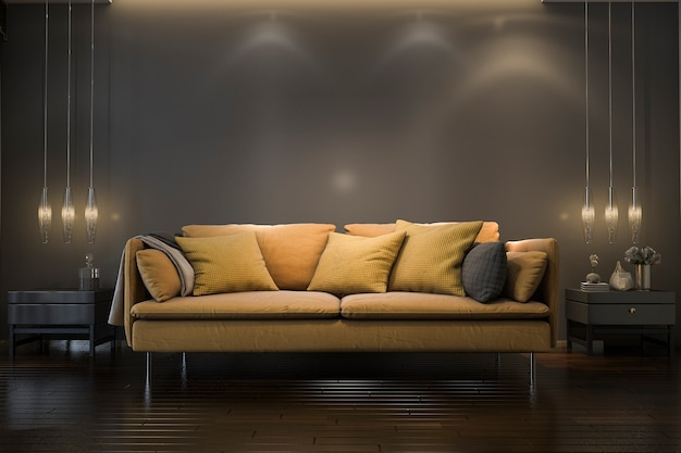3d rendering retro luxury yellow soft sofa in minimal black living room with lamp