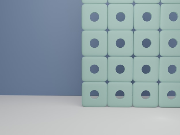 아름다움을 위한 3d 렌더링 복고 스타일 최소한의 기하학적 화면 제품 디스플레이 배경