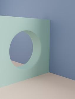 3d-рендеринг в стиле ретро с минимальным геометрическим экраном для отображения продукта на фоне красоты