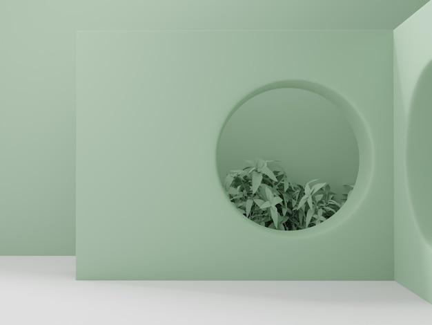 3d-рендеринг в стиле ретро с минимальным геометрическим рисунком стены и сада.