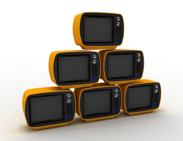 3d-рендеринг ретро-телевизоров на белом. 3d визуализированная иллюстрация