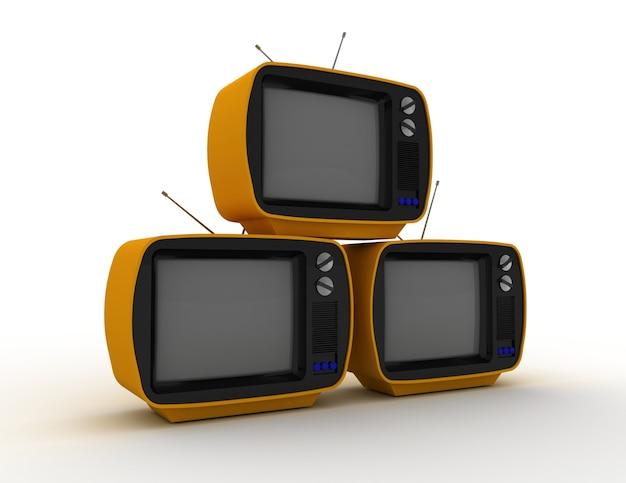 3d-рендеринг ретро-телевизоров на белом фоне. 3d визуализированная иллюстрация