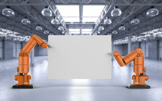Рука робота-рендеринга 3d-рендеринга, держащая белый чистый лист бумаги на фабрике
